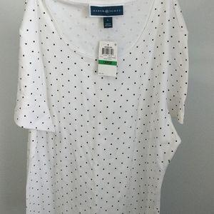Karen Scott White and Black Polka Dot T-shirt